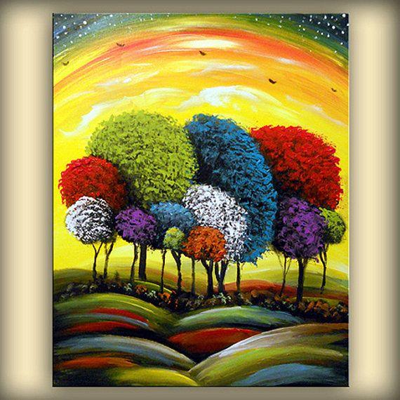 abstract original painting lollipop tree art large by mattsart,