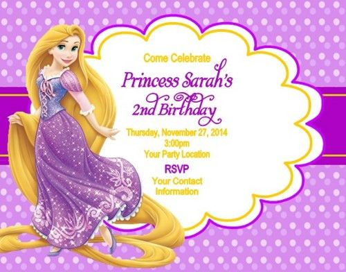 personalised photo paper card party invites invitations DISNEY TANGLED RAPUNZEL