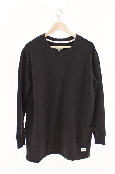RCM CLOTHING / WOMENS SWEATSHIRT   BLACK  Sustainable Hemp Apparel, 55% hemp 45% organic cotton fleece http://www.rcm-clothing.com/