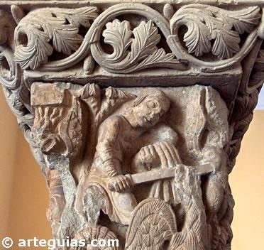 Capitel romanico,del Monasterio del Aguilar del Campo,Palencia. Museo Arqueologico Nacional de España.