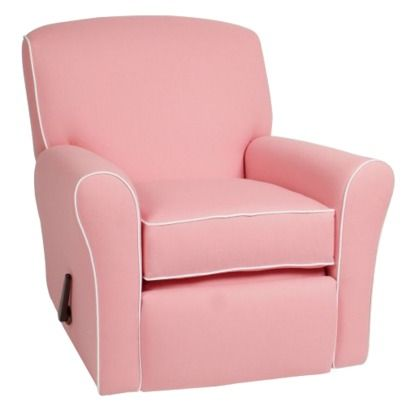 Crown Reclining Swivel Glider Pink/White Linen by Little Castle  sc 1 st  Pinterest : pink toddler recliner - islam-shia.org