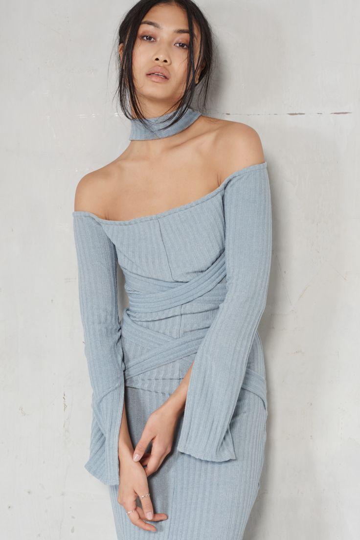 Lavish Alice Powder Blue Rib Knit High Neck Wrap Around Belt Midi Dress…