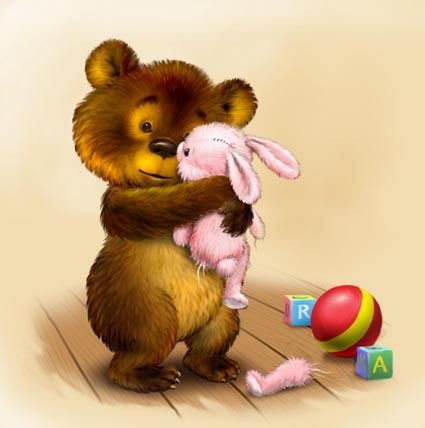 Картинка где мишка обнимает зайца