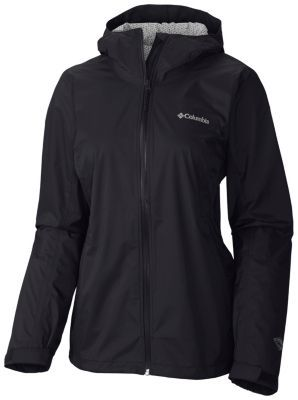Columbia EvaPOURation waterproof, breathable, packs into its own pocket. Size M or L? Black. $100