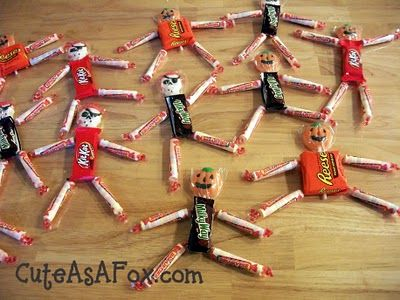 Quick Halloween Project: Candy People - try this using tape instead of hot glue. Tape all down on a small piece of card stock with each kid's name on it for cute party place markers.