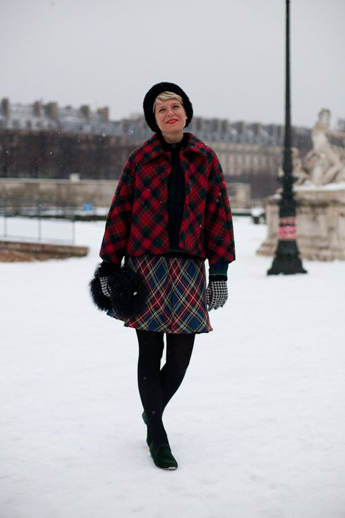 Paris Street Style Couture 2013. Plaid on plaid is the word for Elisa Nalin.