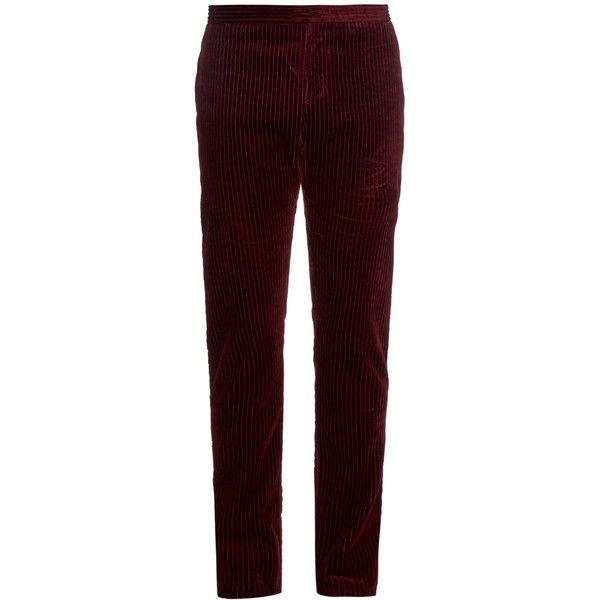 Burberry Prorsum Corduroy straight-leg trousers (4 345 ZAR) ❤ liked on Polyvore featuring men's fashion, men's clothing, men's pants, men's casual pants, burgundy, mens slim pants, mens burgundy pants, mens slim fit pants, mens corduroy pants and mens 5 pocket pants
