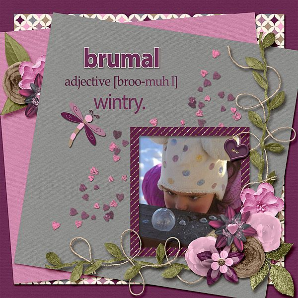 Silly face looking at the frozen bubbles. Fun in the wintry cold. Brenian Designs - Heartfelt mixology mini's 1 & 2 are perfectly adorable in purples, pinks, and shades of gray. Pretty flowers and papers are just right for those sweetheart photos or just every day.