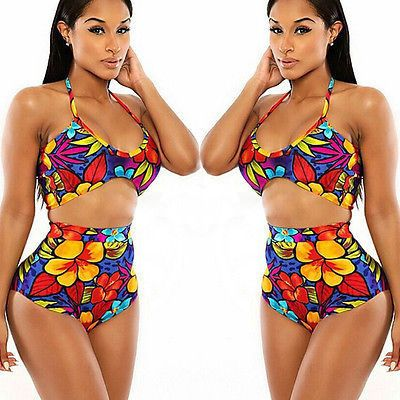 Floral High Waist Bikini Set Push-Up Bra Swimsuit Beachwear Swimwear  https://www.stylishntrendier.com/