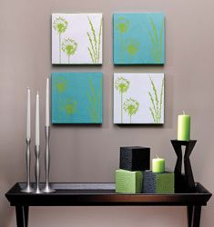 Easy to make Wall Art from Styrofoam, scrapbook paper and ribbon.