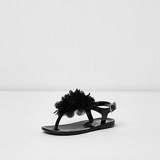 Jelly sandals Floral corsage detail Buckle fastening High shine straps