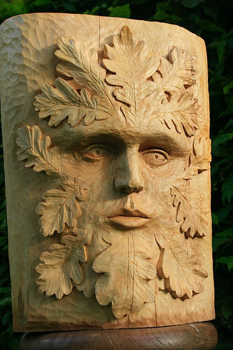 Hand carved Green Man - Jons buushcraft; a very talented young man who runs some extremely interesting craft courses
