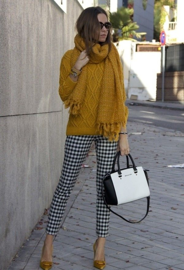 yellow knitted sweater,scarf,handbag,shoes and pant