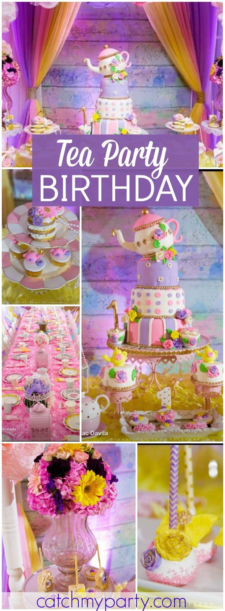 What a sweet pastel tea party birthday party! See more party ideas at CatchMyParty.com!