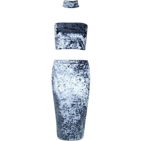 Boohoo Eva Velvet Bandeau & Skirt With Choker Co-Ord | Boohoo ($28) ❤ liked on Polyvore featuring skirts, dresses, blue skirt, bandeau skirt, velvet skirt, print skirt and blue skort
