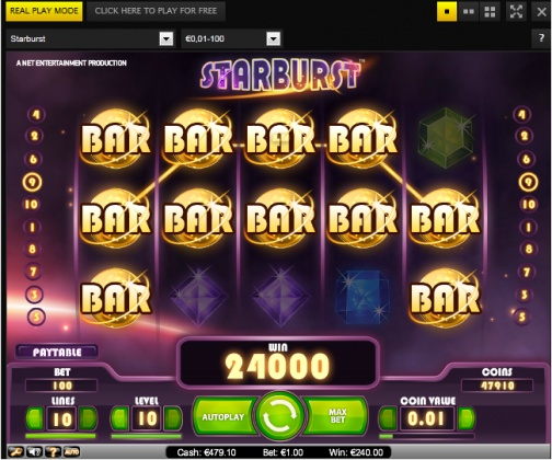 Starburst slot (NetEnt) 240x total bet win without any expanding stars!  You can find hundreds of Big Win pictures and videos here: http://www.bigwinpictures.com