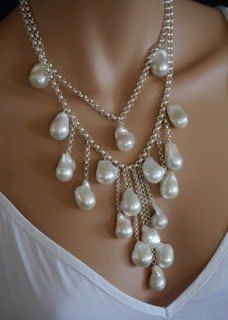 White Baroque Pearl Necklace by kimberleyraine on Etsy
