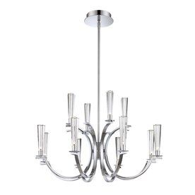 Eurofase Cromo 32-In 12-Light Polished Chrome Clear Glass Tiered Chand