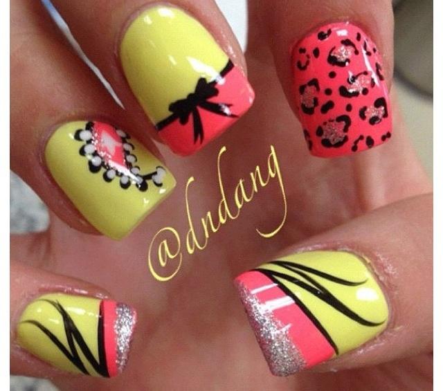 Pink & yellow variety nails