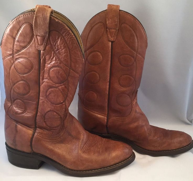 Wrangler Boots, Western Wear Men's Size 8 1/2 D Cowboy Brown Leather Rodeo #Wrangler #CowboyWestern