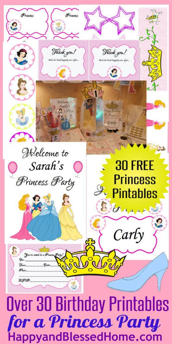 30 FREE Princess Birthday Party HappyandBlessedHome with 30 Free Princess Printables, Princess Cake Decorating, Hanging Mobile, Princess Centerpiece, Princess Wands, Princess Invitations, Princess Crwons, Princess Thank you Notes - DIY Party Decorations for a little girl birthday party.