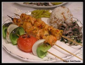 Turkish Food Passion: Chicken Shish Kebab (Tavuk Şiş Kebab) and Zerzavat (Onion Salad with Sumac and Parsley)