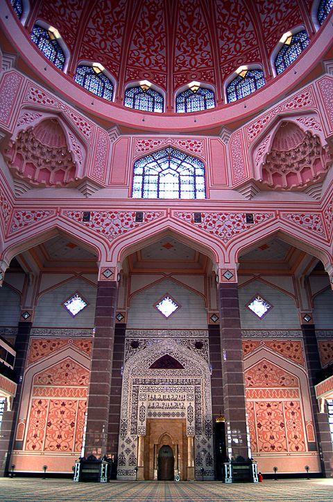 Putra Mosque, (Masjid Putra in Malay), the principal mosque of Putrajaya, Malaysia.