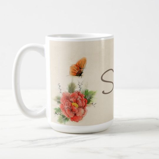 Butterfly & Flower Personalized Porcelain Coffee Mug