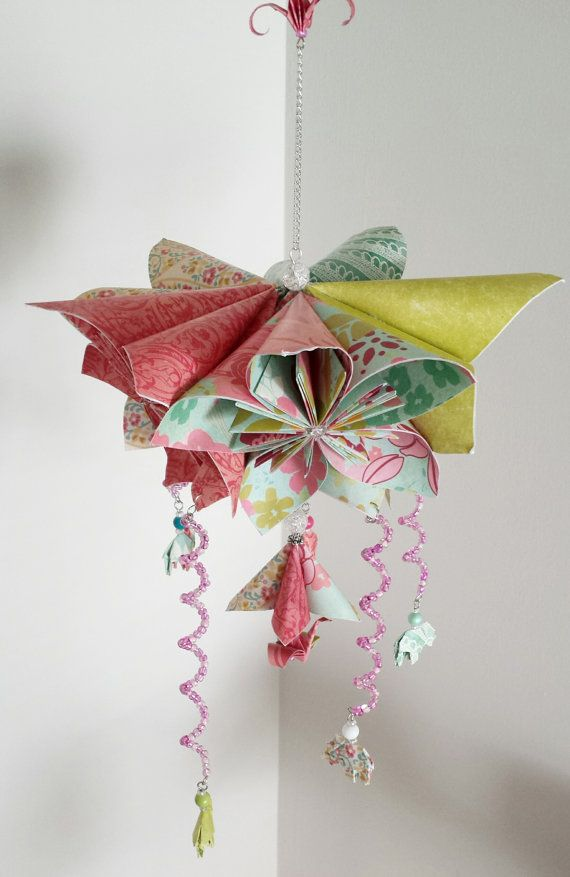 Beautiful Flower Mobile  Origami Mobile  by StellarOrigami on Etsy