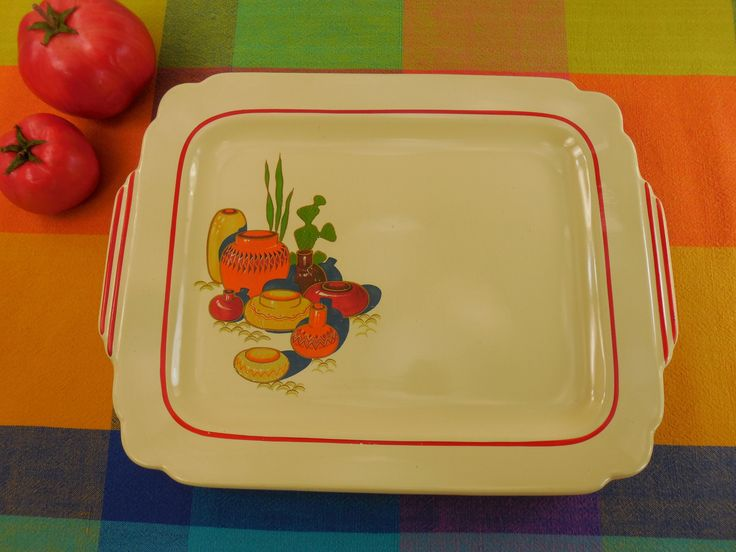 Homer Laughlin China Mexicana Serving Platter Tableware - Southwestern Cactus Pottery Motif