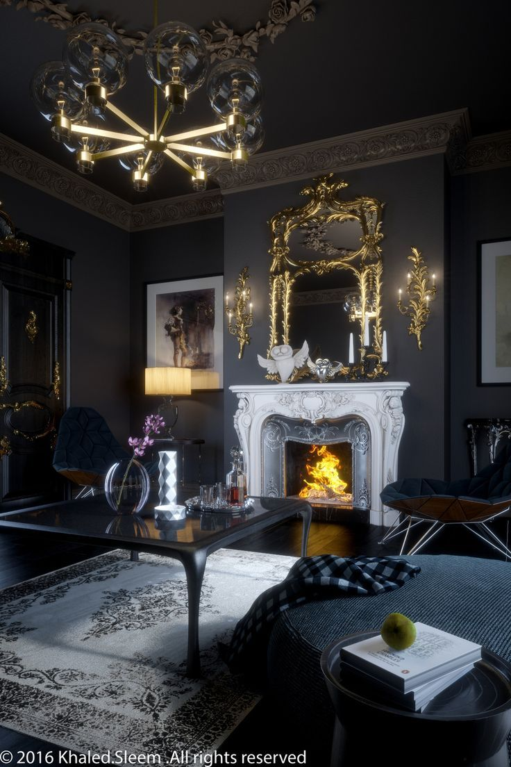 Love Everything About This Space The Mix Of New An Old Is Perfection And The Dark Walls Provide The Dark Living Rooms Gothic Living Room Victorian Living Room