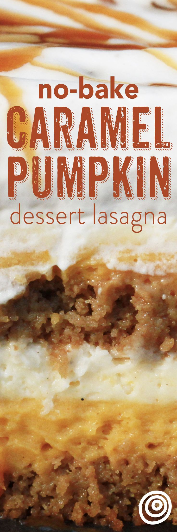 Caramel Pumpkin Dessert Lasagna Recipe. This is the modern take on trifle, and a more fun name for icebox cake recipes! This no bake fall dessert is an EASY, cold, make-ahead treat. This includes gingersnap cookies, spiced cream cheese mousse, and pumpkin pudding enrobed in a spiced whipped cream and caramel sauce. No desserts are better to make for (or with!) kids.