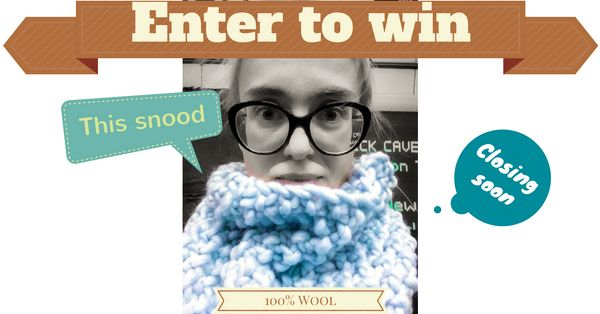 In our free to enter prize draw, one lucky winner will win this cozy 100% wool snood  When the prize draw closes on November 3rd, one lucky entry will be drawn at random and will win the snood.  This prize draw is totally free to enter and all you have to do is type your first name and email address below and click 'Enter' button...