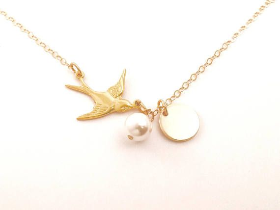 Gold Dove Necklace New Mom Necklace Personalized Gold