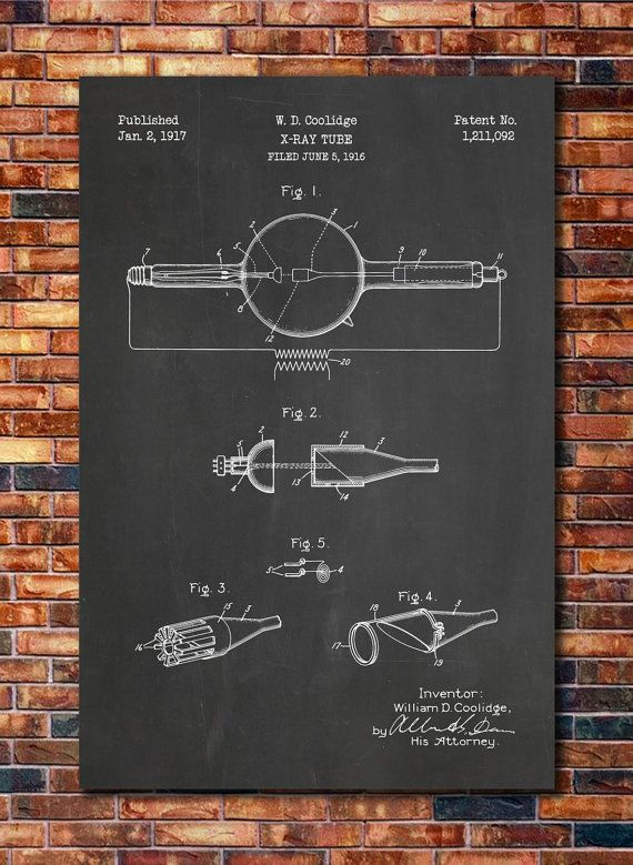 X-Ray Tube Patent Print Art 1917