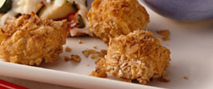"""Betty Crocker's Diabetes Cookbook shares a recipe! Breaded chicken chunks """"Thai"""" together a whole new taste when dipped in peanut sauce."""