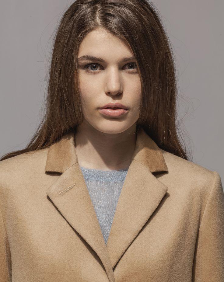 Lambswool Cashmere Girlfriend Coat (Camel) Metallic Mohair Sweater (Moonstone)