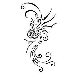 Exotic phoenix tattoo flash