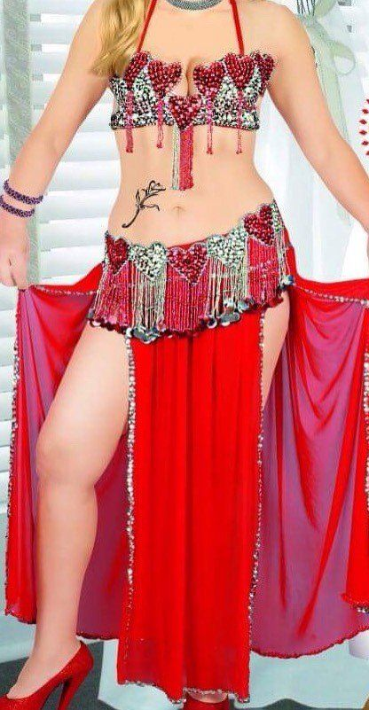 351d8beda7275 Egyptian Sexy red belly dance costume, handmade embroidered bellydance dress,  belt, skirt and bra oriental outfit, New women wear in 2019 | Egyptian belly  ...
