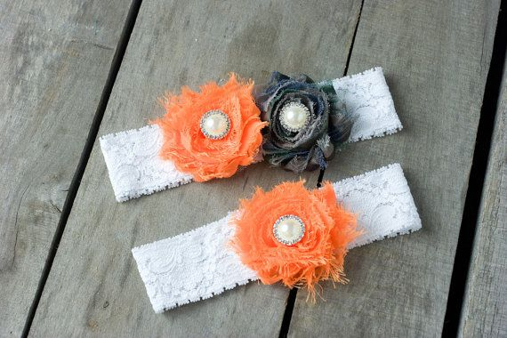 Camouflage Wedding Garter  Orange Wedding Garter Wedding