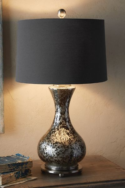 From soft surroundings · with an aged patina and the look of mercury glass our posh table lamp is