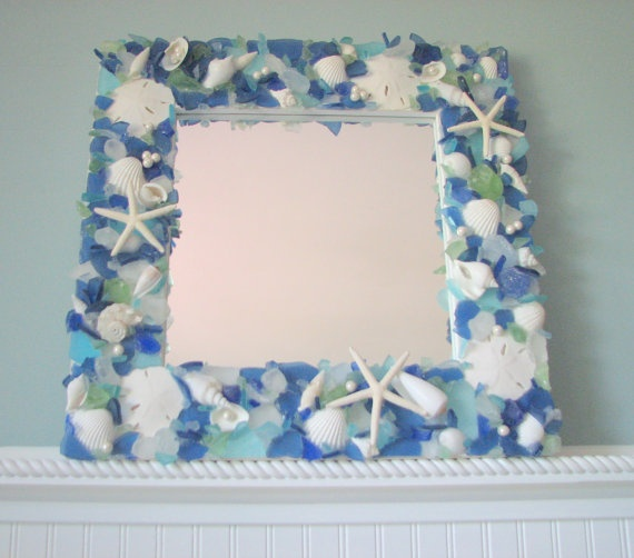 sea glass and shells mirror or frame