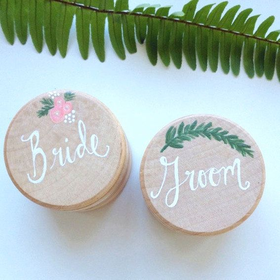 Bride and Groom Ring Bearer Boxes Wedding Ring by FernandPineCo