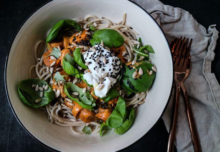 Rispasta med vegetarisk korv