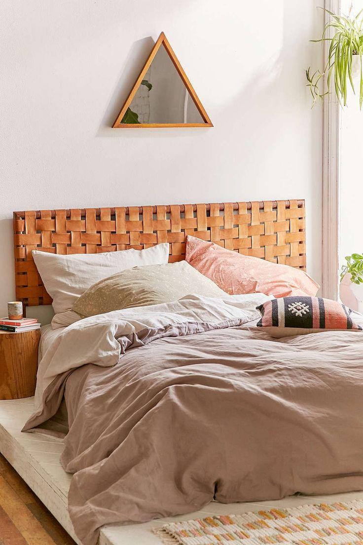 Bed headboard leather - Alda Woven Leather Headboard