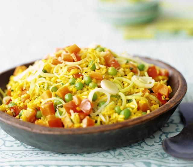 An easy, delicious recipe for rice pilaf with saffron and Moroccan spices. Offer it as a side, vegetarian entree or as a bed for meat or poultry.