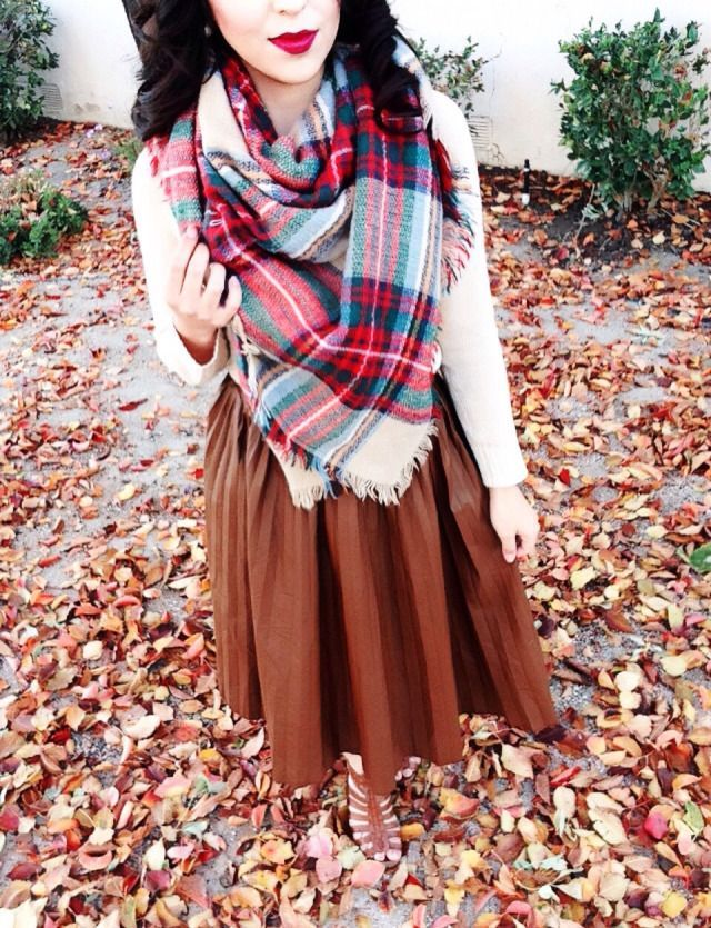 Modest fall outfit! Blanket scarf+ cognac leather skirt!
