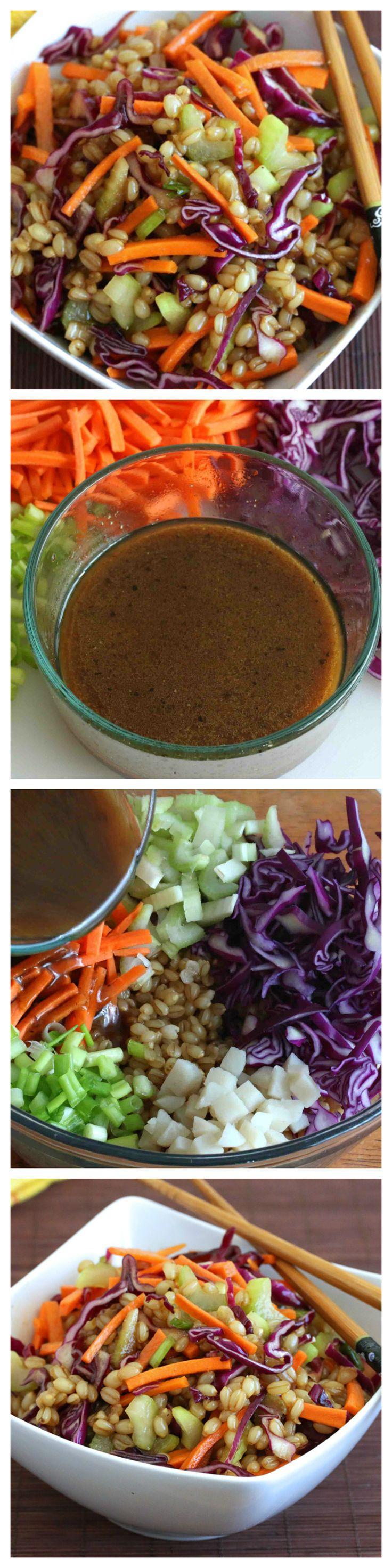 Asian Wheat Berry Salad.  Flavorful, healthy and so delicious!  #recipes #vegetarian #vegan daringgourmet.com
