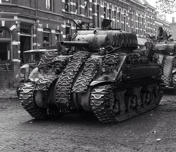 Sherman with some extra and improvised armour