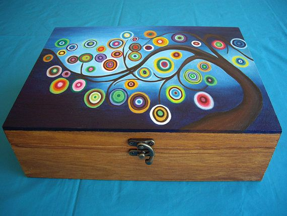 Hand Painted Wooden Jewelery Box With Tree Of Wishes